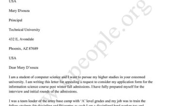 Appeal Letter for College Admission Sample